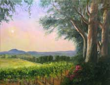 Once upon a Vineyard Oil Painting Temecula Afternoon eucalyptus romantic grapevines California impressionist landscape oil painting Karen Winters