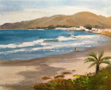 One morning in Cayucos oil painting 8 x 10 inches contemporary art impressionist California