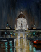 Rainy night at Pasadena City Hall oil painting