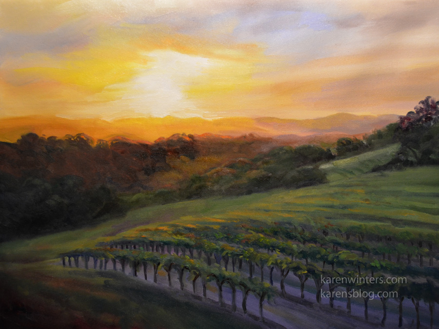 Paso Robles Vineyard Sunset Oil Painting California Art Sale