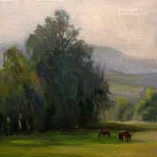 Peaceful Pasture California Landscape Oil Painting Eucalyptus Equine Horse Grazing Central California Karen Winters