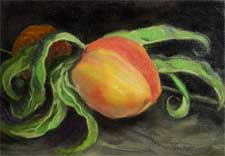 Peach still life oil painting miniature