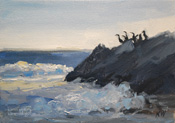 Pelican Rock, Malibu, Leo Carrillo Beach marine seascape California oil painting