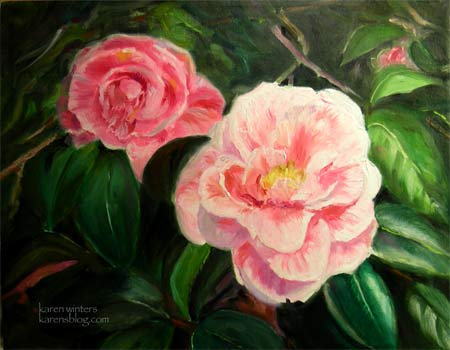 pink strip camellia oil painting