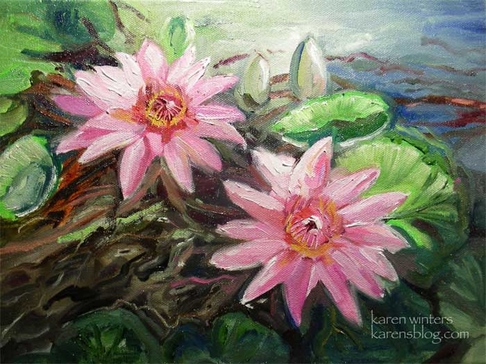 pink waterlilies lotus flower oil painting