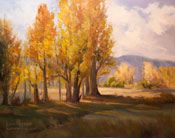 Poplar Windbreak, Bishop California Sierra oil painting