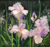 Purple and white irises oil painting