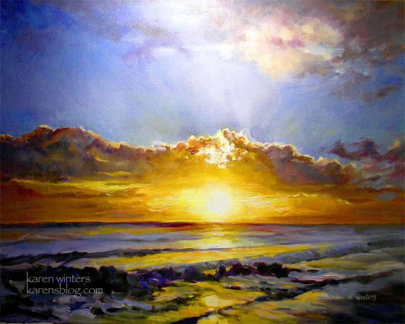 Radiant Sea seascape Pacific Coast sunset oil painting by Karen Winters California impressionist fine artist