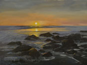 Radiant Shore, rocks and sunset shoreline near Malibu California, brilliant golden sunset oil painting