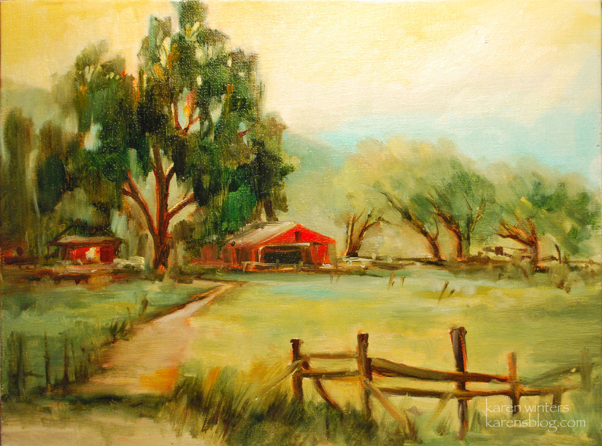 The red barn california landscape oil painting for Oil painting scenery