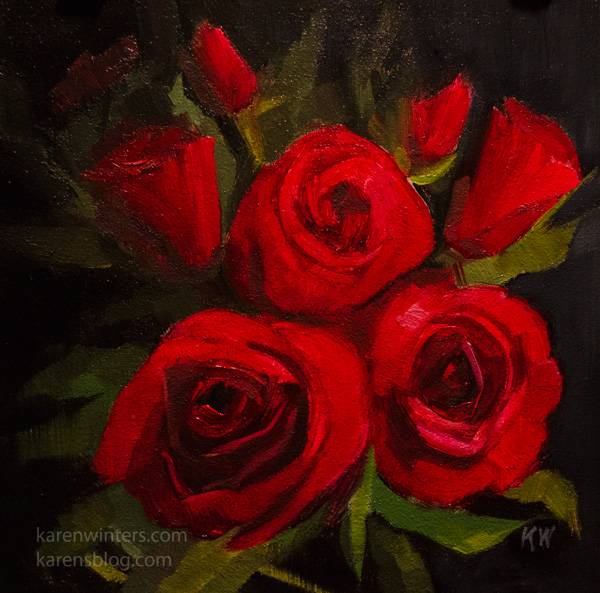 Red Roses Bouquet Valentine Oil Painting Miniature Art Gift