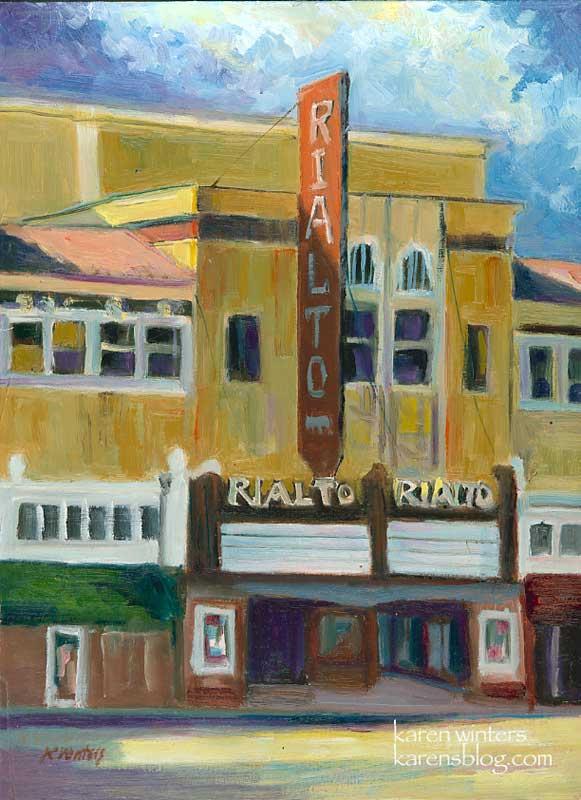 rialto theater south pasadena plein air oil painting
