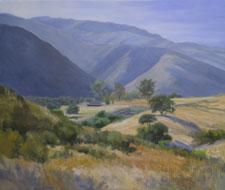 River Road California rolling golden hills oil painting landscape oak tree art for sale Monterey