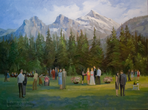 Canadian wedding oil painting - a custom commissioned oil painting by California artist Karen Winters