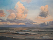 Sailing Clouds - Moonstone Beach Cambria original oil painting by Karen Winters