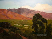 San Gabriel Sunset Glow Oil Painting Pasadena