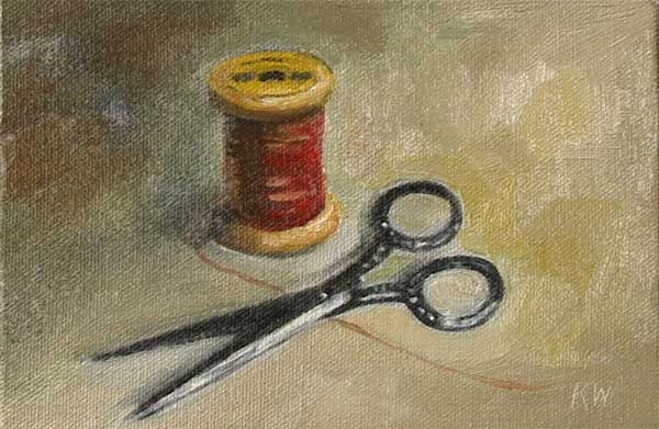 scissors and spool painting