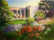Huntington Gardens Scott Gallery Shakespeare Garden oil painting San Marino