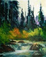 Sierra Seasons Sierra nevada Oil Painting Fishing Creek Stream Pines Fall Color