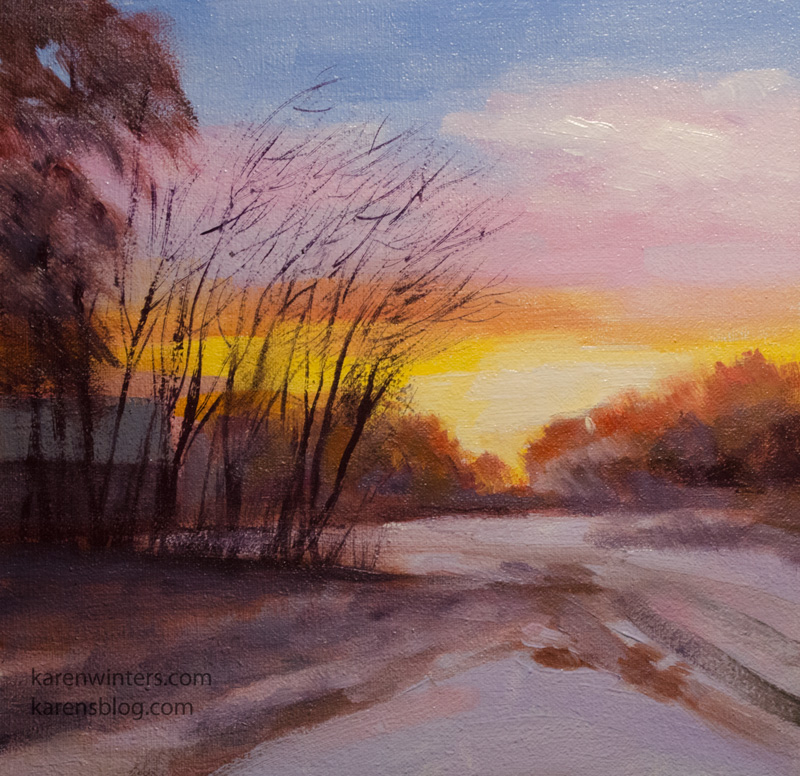Snowy Sunset Landscape Winter Oil Painting Miniature