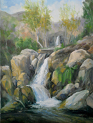 Solstice Canyon Waterfall Malibu Commissioned Painting by Karen Winters