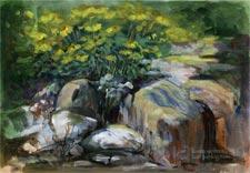 Spring garden oil painting