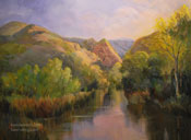 Spring Stillness Malibu Creek State Park creek oil painting by Karen Winters
