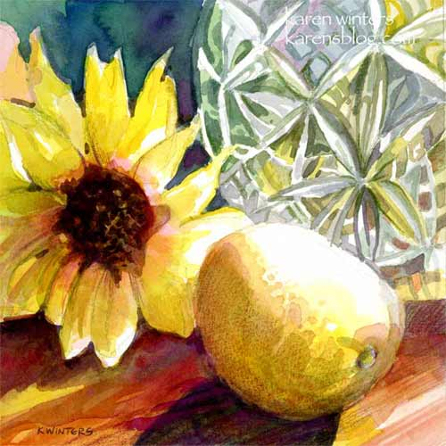 Sunday Sunshine Sunflower and Crystal watercolor painting