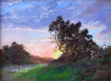 Sunset magic tree california impressionist oil painting
