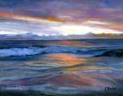 Sunset Surf Pacific Ocean California Seascape marine painting