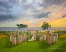 Sunset Wedding in Portugal oil painting on commission
