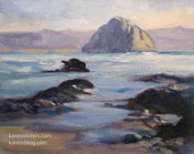 Surfside at Morro Bay Morro Rock Oil Painting 8 x 10 inches by Karen Winters - Painted during the 2012 SLO Plein Air Festival
