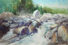 Eaton Canyon Swift Water watercolor painting
