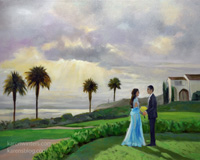 Indian Wedding Couple Reception Portrait Live Event Painting - painted on commission by live event painter Karen Winters