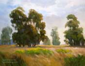 California landscape oil painting That Sunset Glow eucalyptus oil painting Central California sunset warm light golden fields pasture romantic light