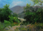 Eaton Canyon altadena Pasadena wildflower canyon trail oil landscape painting by Karen Winters California Art Club impressionist
