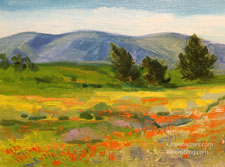 California Poppy Covered Hills landscape impressionist oil painting