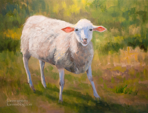 The Yearling Sheep Oil Painting San Luis Obispo