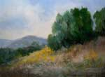 California landscape painting fields hills San Dimas Horsethief canyon pepper tree california sunflowers