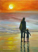 To touch the sea miniature ocean beach sunset painting with mother and child