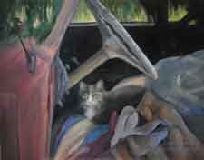 Tom's Truck gray cat in 53 chevy truck oil painting