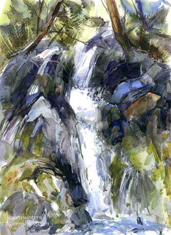 Tumbling Down Watercolor Painting Sierra Creek