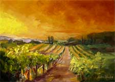 tuscany vineyard sunset oil painting