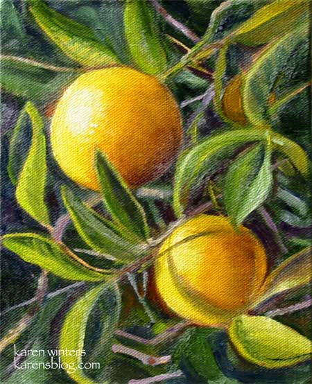 Twin Oranges oiil painting