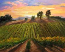 Vineyard Harvest Time California wine country sunset oil painting