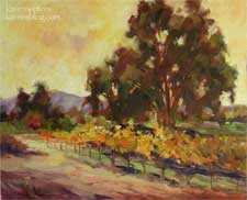 Vineyard Sunset Paso Robles California oil painting by California impressionist Karen Winters