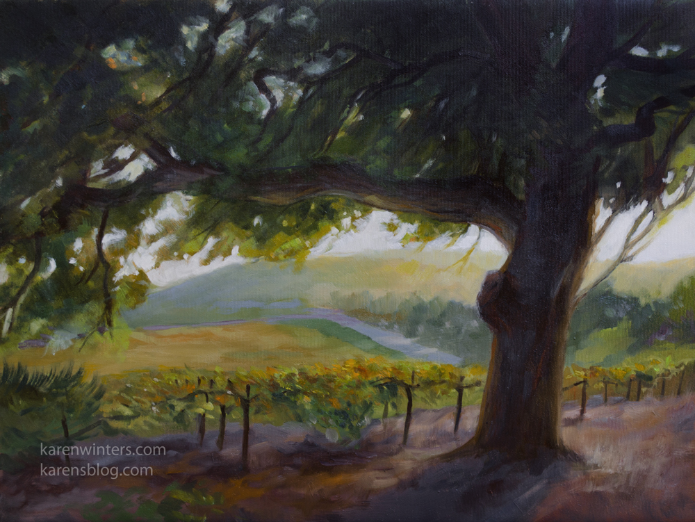 410aea44a6d Vintage oil vineyard oil painting Vintage Oak wine country ...