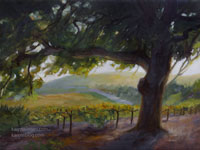 Vintage Oak Tree Vineyard Grape Vines Wine Country oil painting for sale