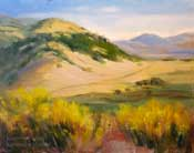 Walker Basin Overlook oil painting from Rankin Ranch, Walker Basin, Kern County, by California impressionist Artist Karen Winters California Art club plein air art artist