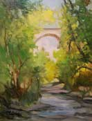 It's All water under the Bridge, Colorado Street Bridge, Arroyo Seco, with stream oil painting